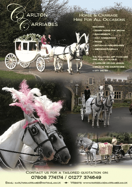 Carlton Carriages poster whites with address